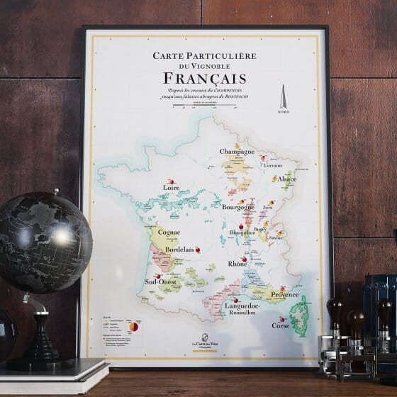 Une série d'affiches de la carte particulière des vins de France